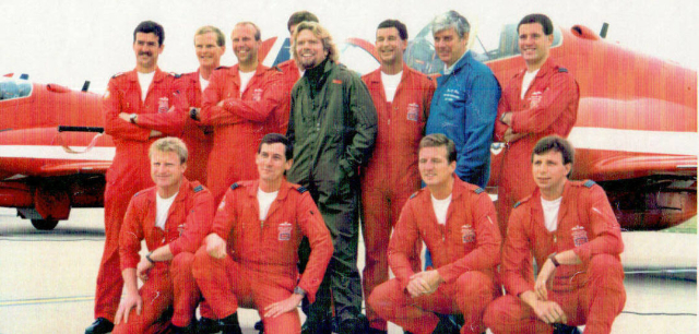 Fred Finn with Richard Branson and Red Arrows